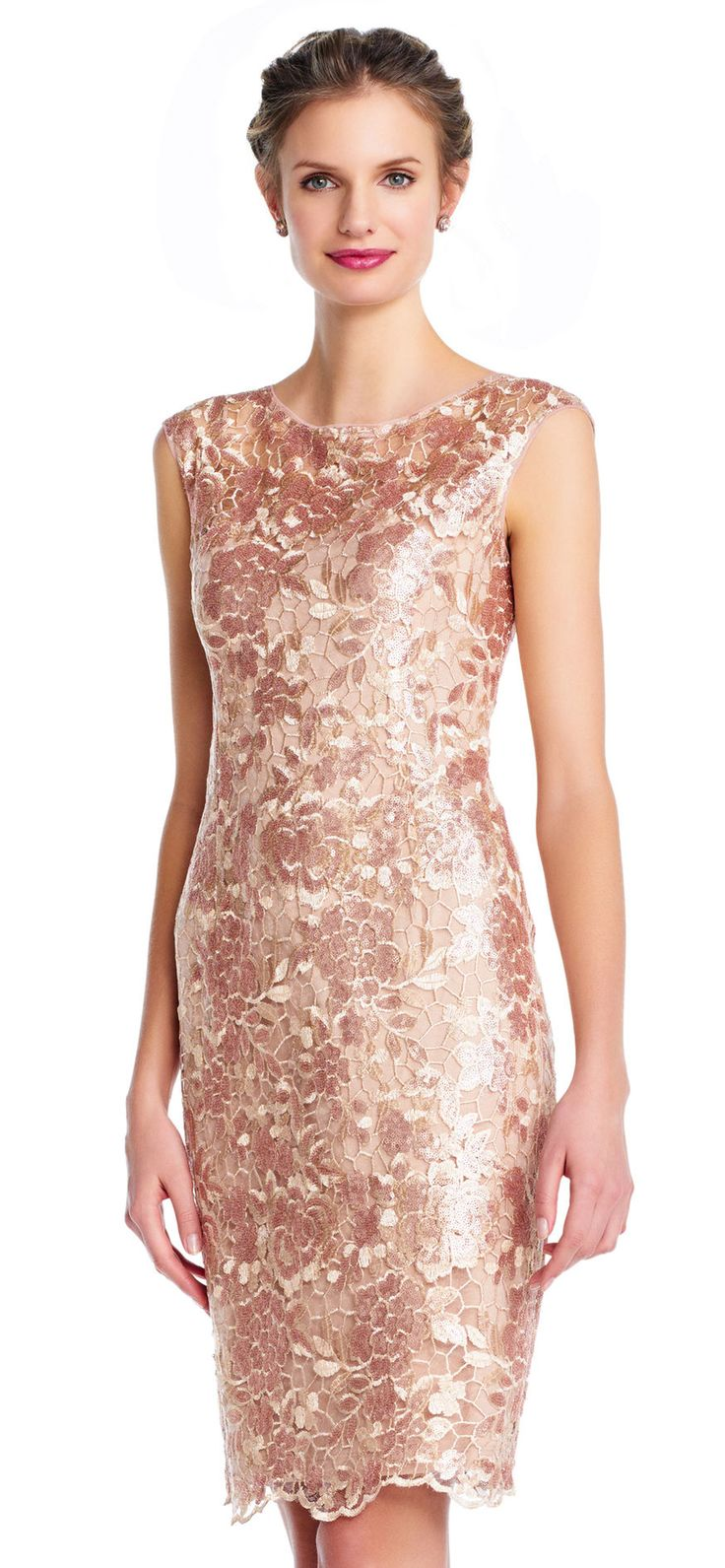 Adrianna Papell | Sequin Floral Lace Sheath Dress with Illusion Neckline