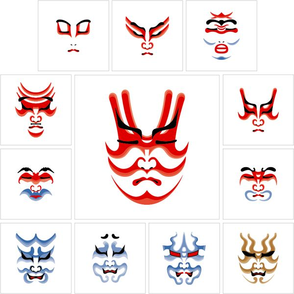 Kumadori is stage makeup worn by kabuki actors, particularly when performing in the bold and bombastic aragoto style.
