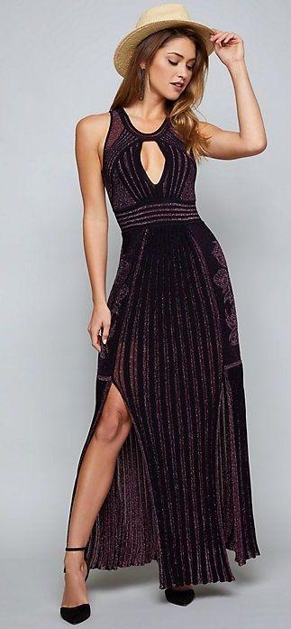 Black Metallic Knit Gown Black Metallic Maxi Dresses With Slit