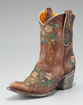Old Gringo Embroidered Short Boot in Brass