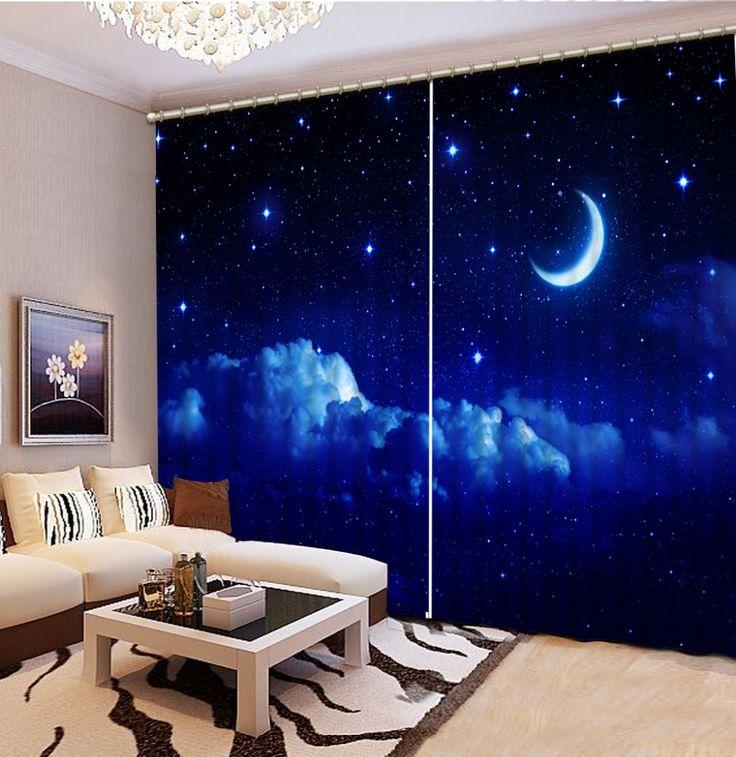 $ 30 Настройка покупателя размер Мода 3D Home Decor Красивые темно голубое небо Шторы для гостиной Украшения Дома купить на AliExpress