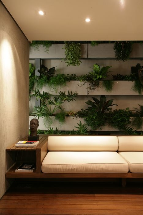 ♂ contemporary interior home with green vertical garden wall STUDIO ARTHUR CASAS