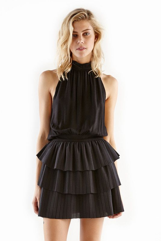 Steele Lupe High Neck Frill Dress in Black