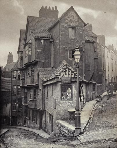 The junction of Steep Street and Trenchard Street, Bristol, England in 1866. By John Hill Morgan.