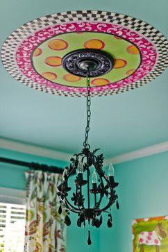 Turquoise Girls Room!  Handpainted Ceiling Medallion.  Black Crystal Chandelier