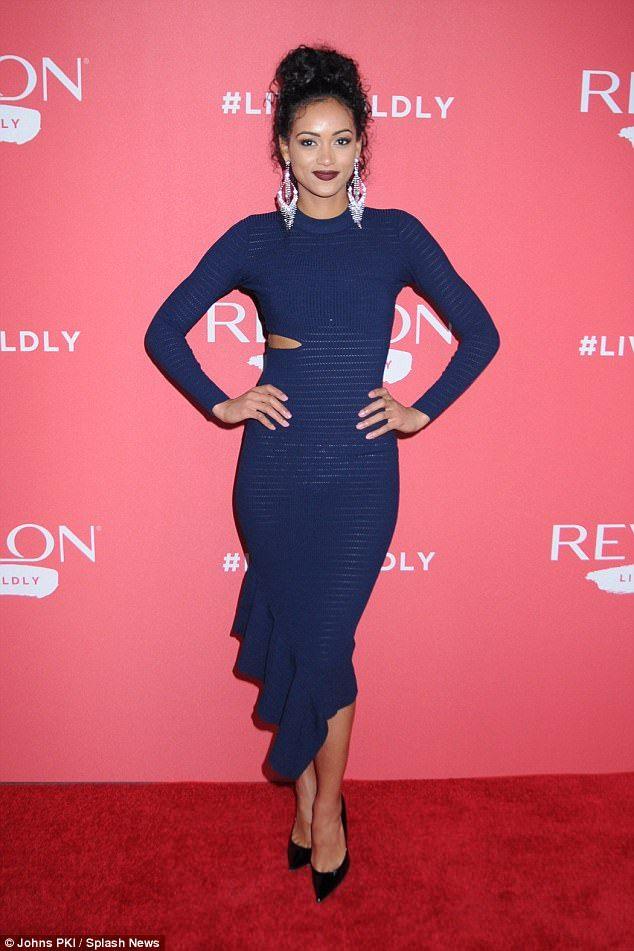 Sheer genius: Miss USA 2017Kara McCullough stunned in a semi-sheer blue midi dress which ...
