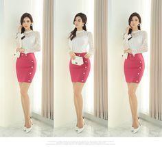 Geometric Cut Gold Button Slim Fit H-Line Skirt