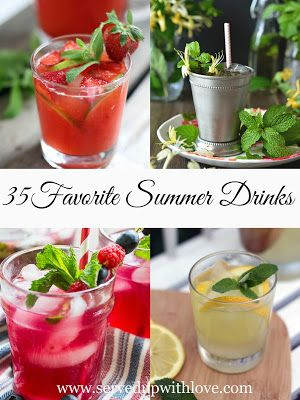 Served Up With Love: 35 Favorite Summer Drinks-Round up of 35 great summer drink recipes from top bloggers to celebrate all things summer. www.servedupwithlove.com