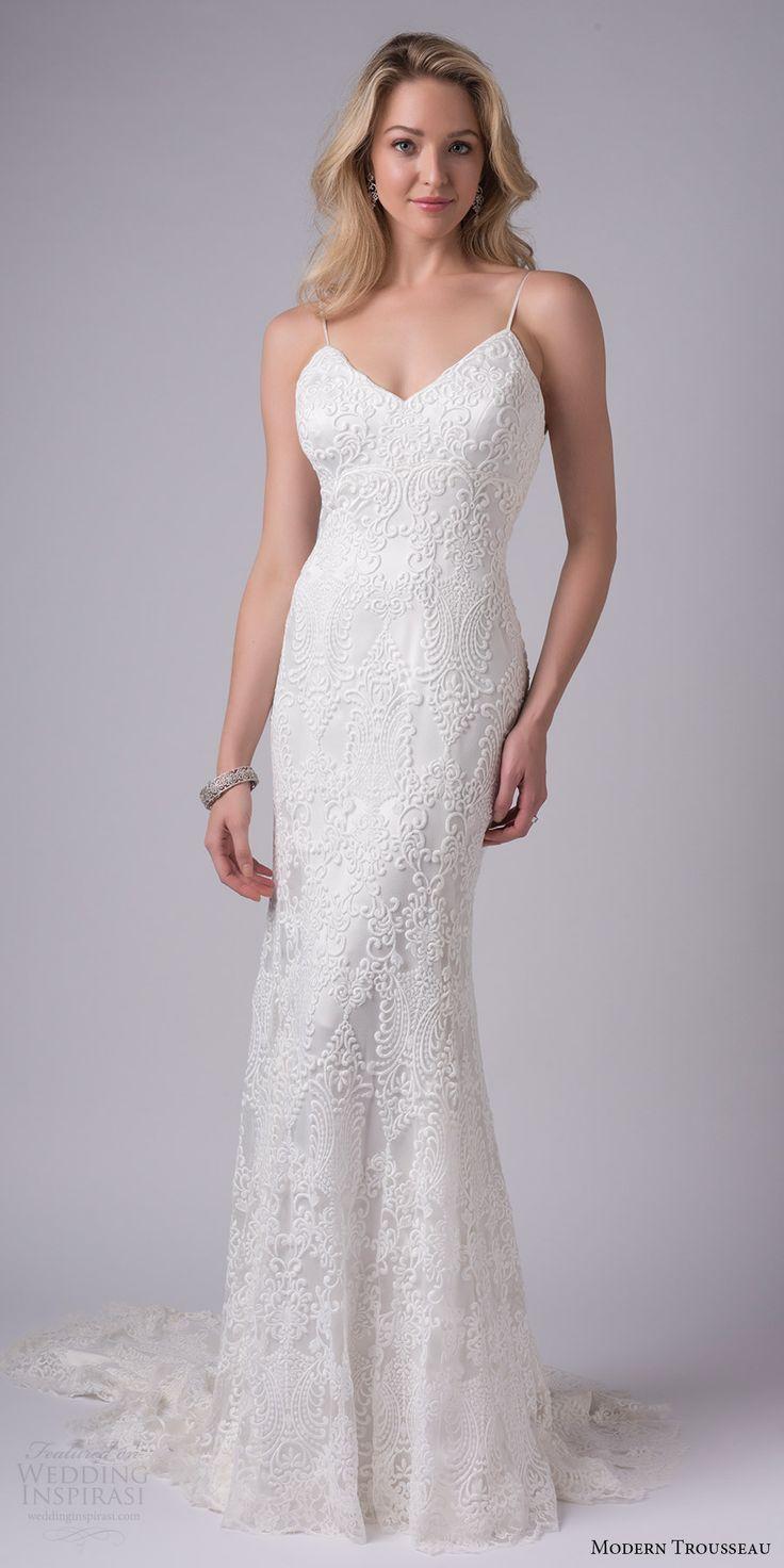 modern trousseau bridal fall 2017 sleeveless spaghetti straps vneck lace sheath wedding dress (colby) mv train