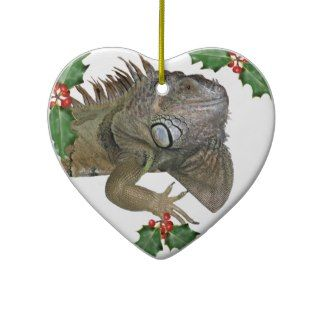 Green Iguana Love Xmas Ornament