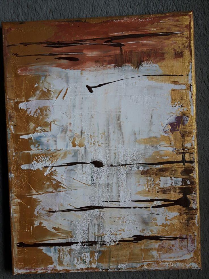 Ich liebe es😍. Meine erste Spachtel-Arbeit. Es gefällt mir echt gut. Das Zusammenspiel bringt Harmonie. Mit Acryl den Untergrund gespachtelt und Farben mit dem Spachtel aufgetragen. 30cmx40cm. Created & Designed by Diana Berg. #Abstrakte Kunst #Farbe #Gold