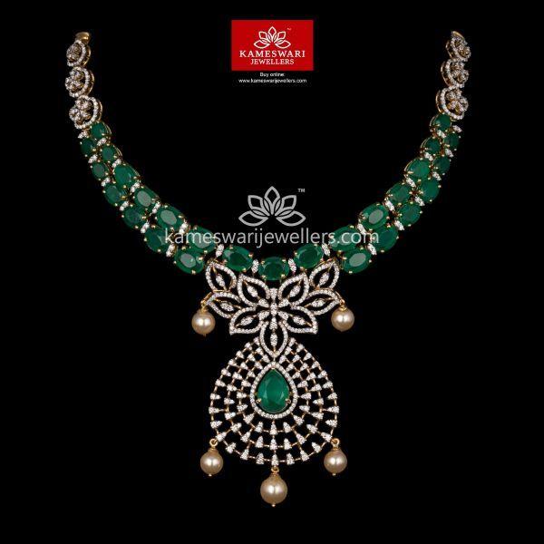 Emerald Green Highlight Diamond Necklace