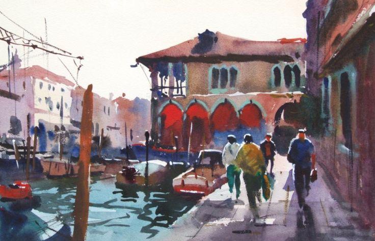 Fish Market Venice, Jake Winkle, Watercolour