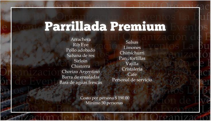 #Parrillada #ParrilladaPremium #CDMX #Eventos Las mejores parrilladas para tu evento en México. Nosotros te ofrecemos el mejor servicio para tus invitados. PARRILLADAS DF PARRILLADAS MÉXICO  Precio: 460 x persona. Mínimo 50 personas. Tel: 36 00 52 74 WhatsApp. 55 83 45 07 79 www.eventoslabuff.com