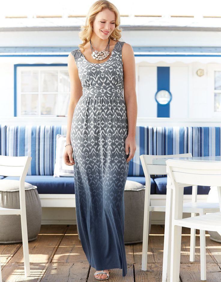 Macrame Maxi Dress in Blue Mix by Pepperberry