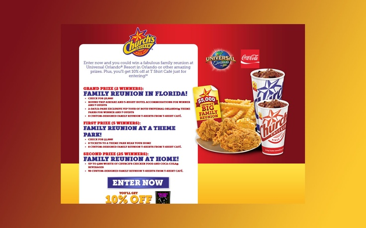 Church's Chicken Family Reunion Peel and Win