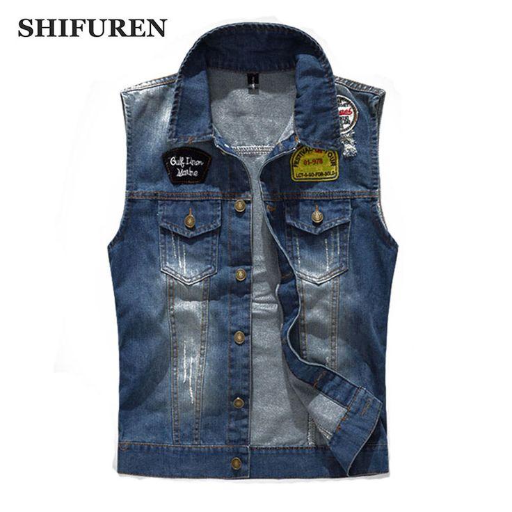 SHIFUREN Vintage Men's Denim Vests Ripped Cowboy Frayed Jeans Vests Fashion Patch Designs Waistcoat Sleeveless Jackets #Affiliate
