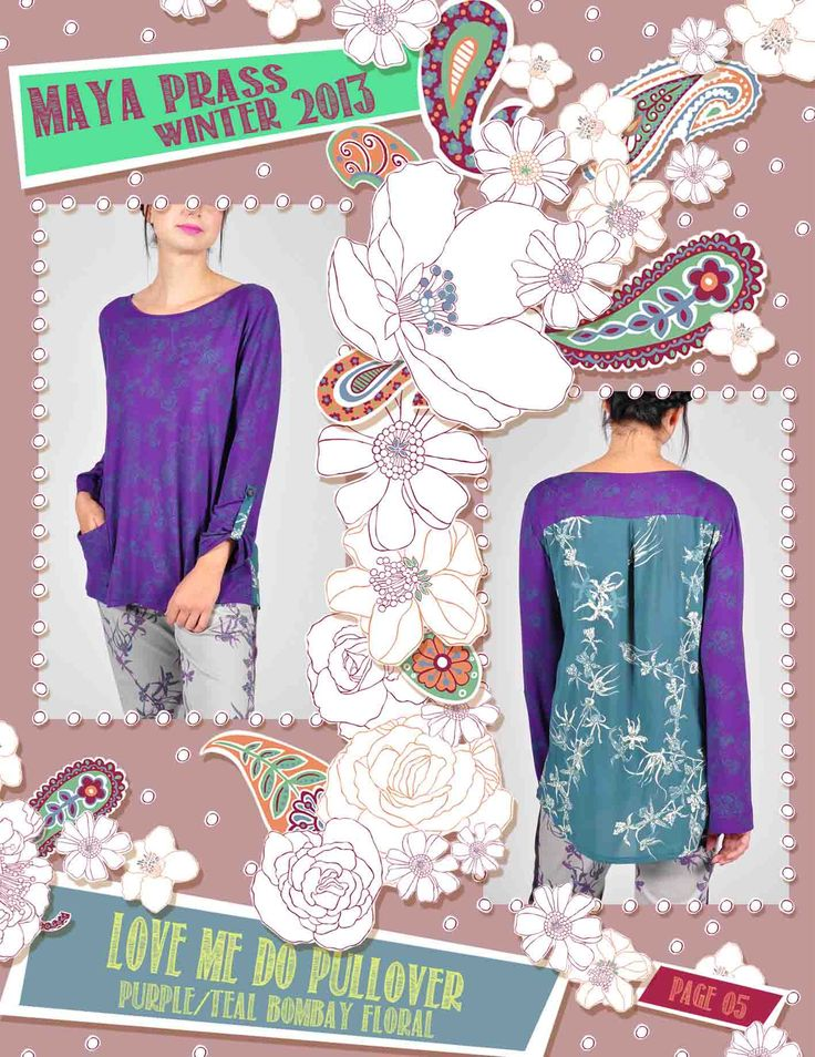 Love-me-Do pullover plum Bombay Floral