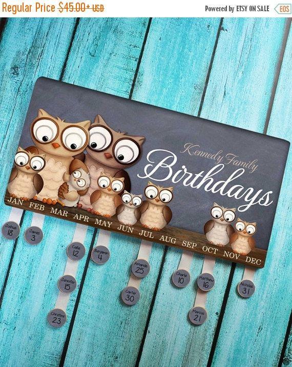 HOHOHO SALE Personalized BIRTHDAY Board Owl Forest Woodland Family Birthdays Teacher Classroom Birthday Wall Décor Organizer Grandparent Gif