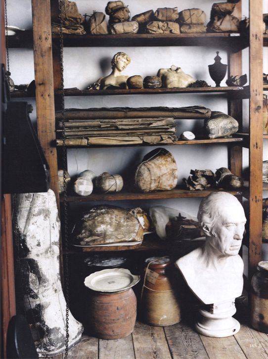 James Watt's Birmingham workshop, World of Interiors, November 2011 via Jonathan Burden Antiques on Pinterest.