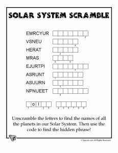 planets word puzzle 231x300 Solar System for Kids