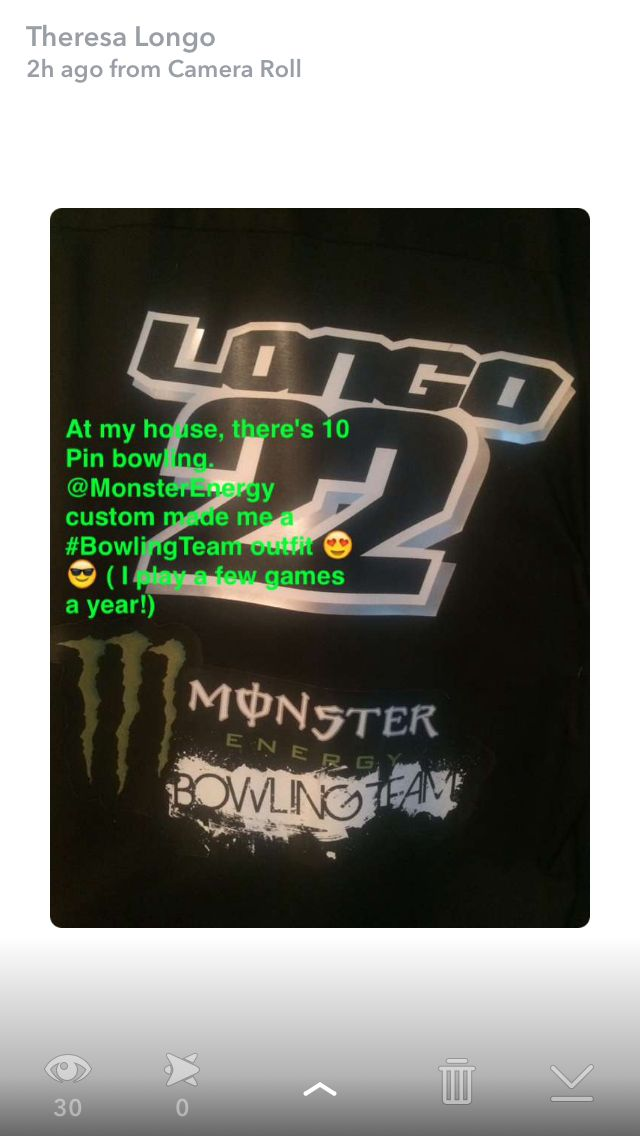 At my house there's 10 pin bowling. @monsterEnergy made me a custom made bowling jersey. Thanks friends!