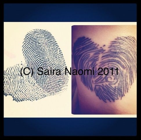 my tattoo. It's my own fingerprint in a heart with my partner's print ...