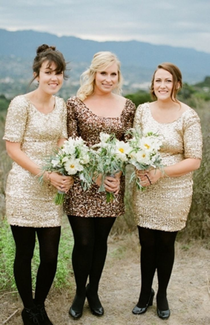Long-sleeved dresses look pretty and keep your girls warm at an outdoor autumn wedding!