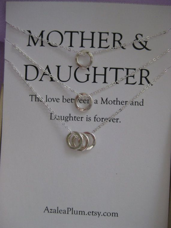 Mother Daughter Jewelry. Mother Daughter Necklace  Simple, dainty and organic looking hand hammered fine silver Eternity Cirle charms.  A set of 3 necklaces for the love between Mother and Daughters!  $110 AzaleaPlum.etsy.com