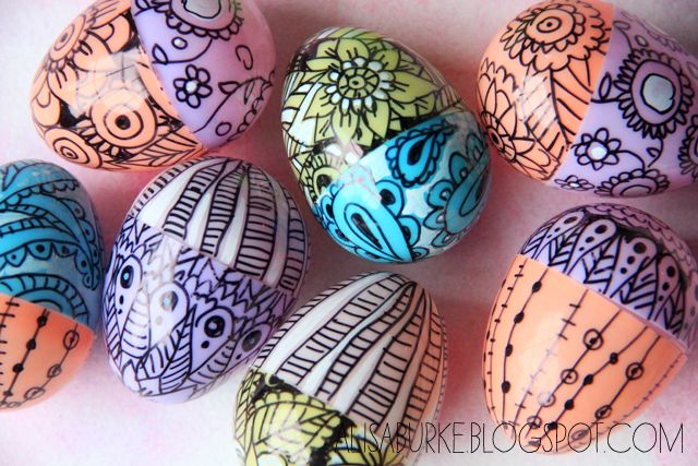 Plastic eggs and sharpies