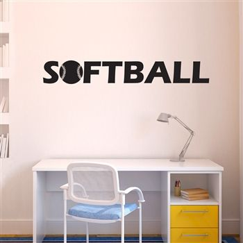 softball with ball removable chalktalkgraphix wall decal coolest softball wall stickers softball bedroom ideasremovable