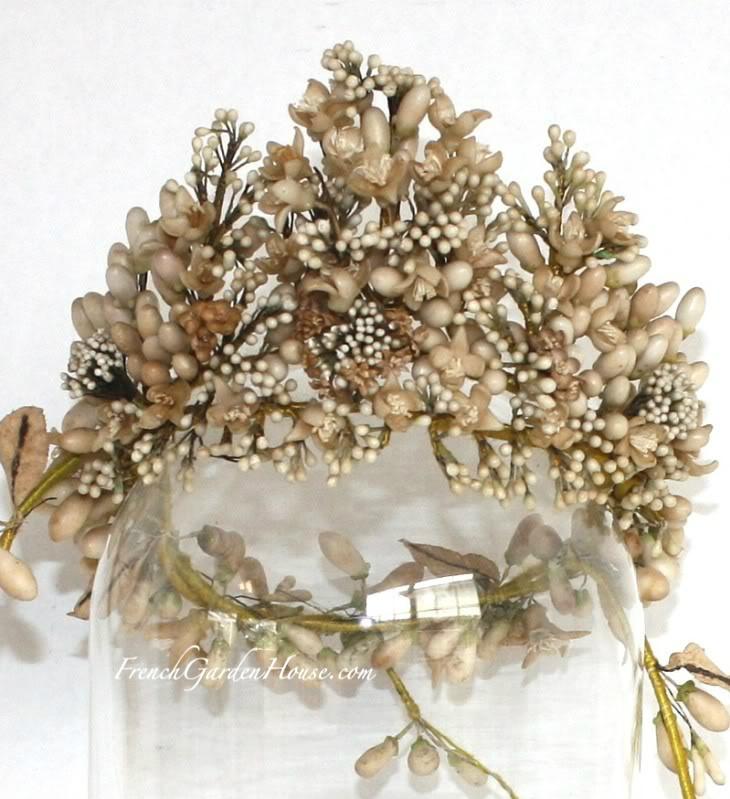 French Antique Wax Wedding Tiara  Wax Orange blossoms 1880's  So beautiful
