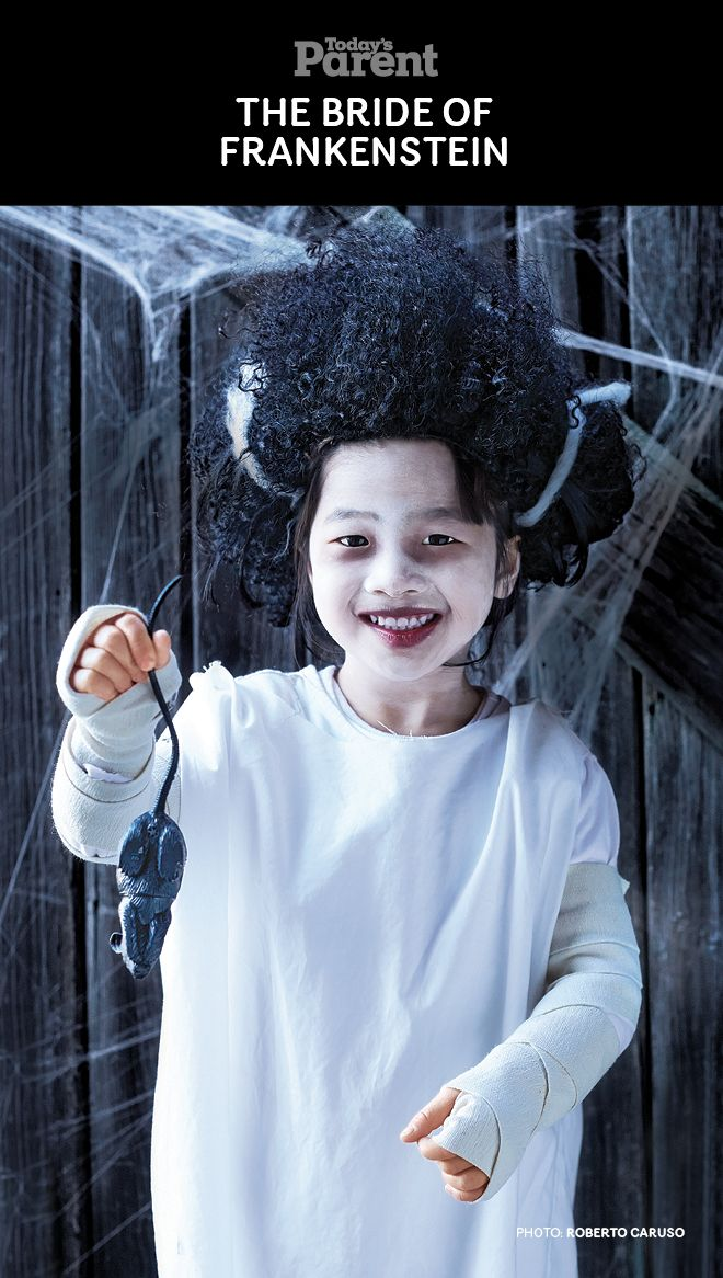 DIY Classic Bride of Frankenstein Kids Halloween Costume ...