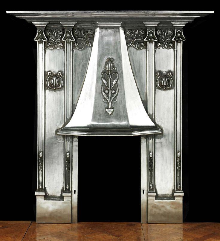 Antique Art Nouveau Cast Iron Fireplace Mantel