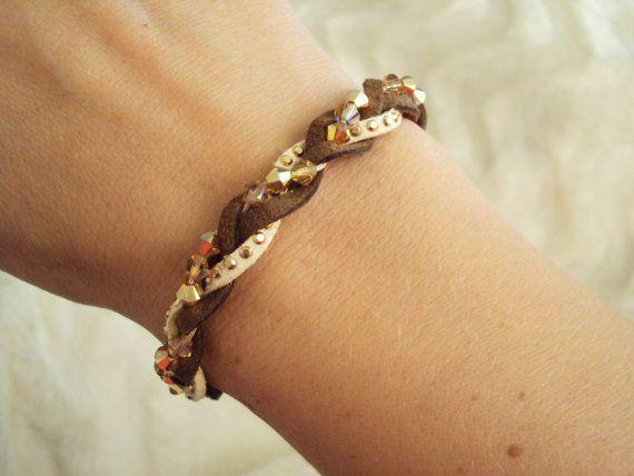 Braided brown leather bracelet with golden Swarovski crystals