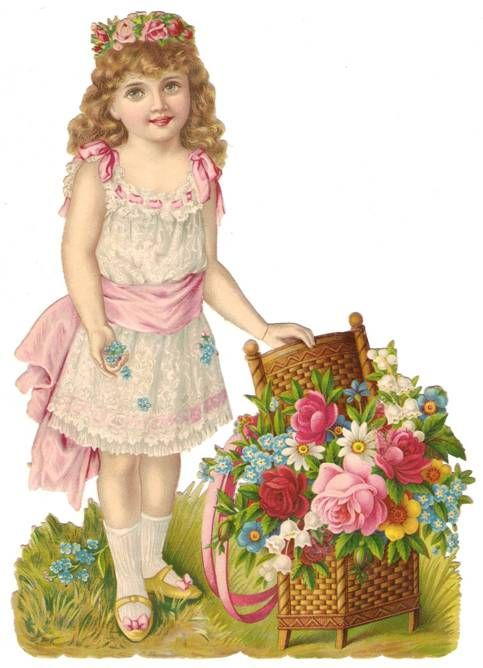 Victorian Paper Scrap Rose Girl Pink Die Cut