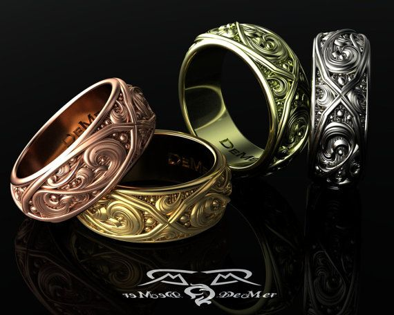 Wayward Embrace Band    Decadent and uninhibited.    You are an original, your relationship without peer, and your life is unique. Dont cover that up with a plain band, embrace it.    The Wayward Embrace band is opulent, its intricate trellis frames and revolver engraving circling 360 degrees around the finger. Three repetitions of this eye-catching motif to represent your past, present, and futures.    The Wayward Embrace band, like your life, is more then just style; it has substance to…