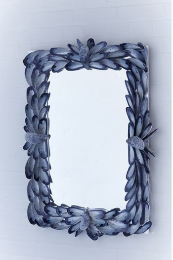 mussel shell mirror which is art and mirror in one