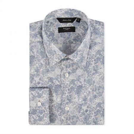 Men's Shirts - Sky Blue Pastel Floral Byard Shirt 13.
