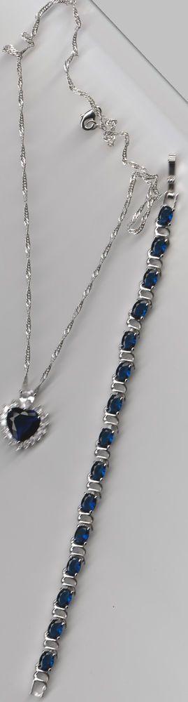 18 KARAT WHITE GOLD PL.BLUE SAPPHIRE BRACELET AND HEART NECKLACE..LOOK #Tennis
