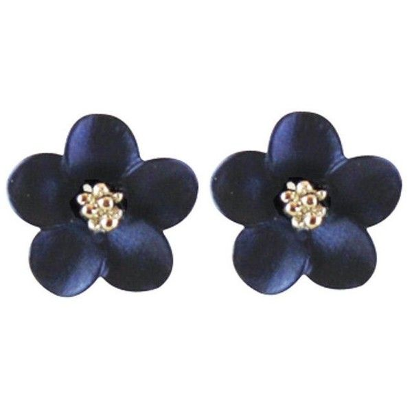 Anemone Navy Blue Enamel Silver Tone Stud Pierced Earrings (€23) ❤ liked on Polyvore featuring jewelry, earrings, enamel jewelry, navy blue jewelry, silvertone earrings, studded jewelry and earring jewelry