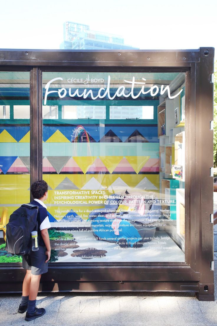 The Cécile & Boyd Foundation is involved in creating inspiring spaces for disadvantaged children in either refurbished containers...