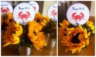 Crab Boil Party sunflower centerpieces
