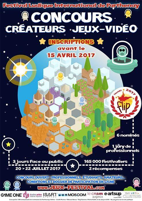 Concours des créateurs de jeux vidéo : Trophée FLIP 2017 - Ouvert à tous, professionnels, étudiants, amateurs […], cette nouvelle édition du concours des créateurs de jeux-vidéo du Festival Ludique International de Parthenay mettra à l'honneur 6 auteurs ...