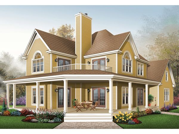 Laurel hill country farmhouse house plans farmhouse for Two story house with wrap around porch