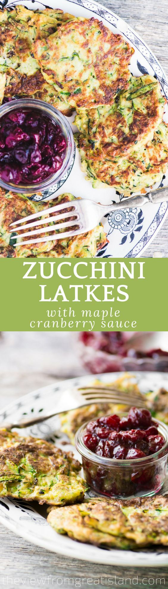 Zucchini Latkes with Maple Cranberry Sauce is a colorful twist on a beloved holiday tradition! #hannukah #passover #potatopancakes #latkes #zucchini #breakfast #jewishrecipe #latkerecipe