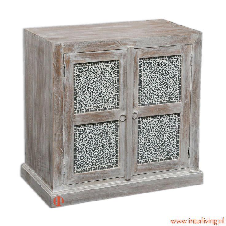 2 deurs kast antiek grey wash hout finish met transparante mozaïek panelen