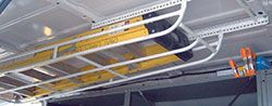"""Hauler Racks Interior Van Rack Mounts to inside of roof of commercial van or truck cap Includes universal mounting brkt. Stows away within 8"""" of interior ceiling.  For more information regarding the Hauler Racks line of ladder racks please call our sales team at 800-330-1229 - See more at: http://www.actionfabrication.com/equipment.php?cat=2"""