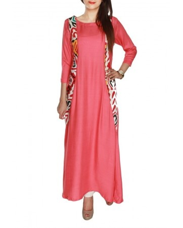 I LUV Designer - Pakistani Designer Dress Shalwar Kameez Coral Casual Tunic with Handmade traditional Sindhi Ralli in Panels by Kolaaj 2013 Fashion Collection - Pakistani Dresses Latest Fashion