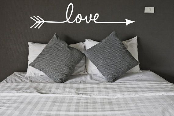 Arrow, Love Vinyl Decal (Interior & Exterior Available) Indie / Boho Decor, Feather and Arrow, Tribal Design, Bedroom Wall Decor Frugal Ideas, simple living #frugal